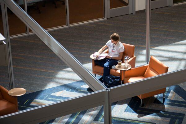 Student studying in learning commons